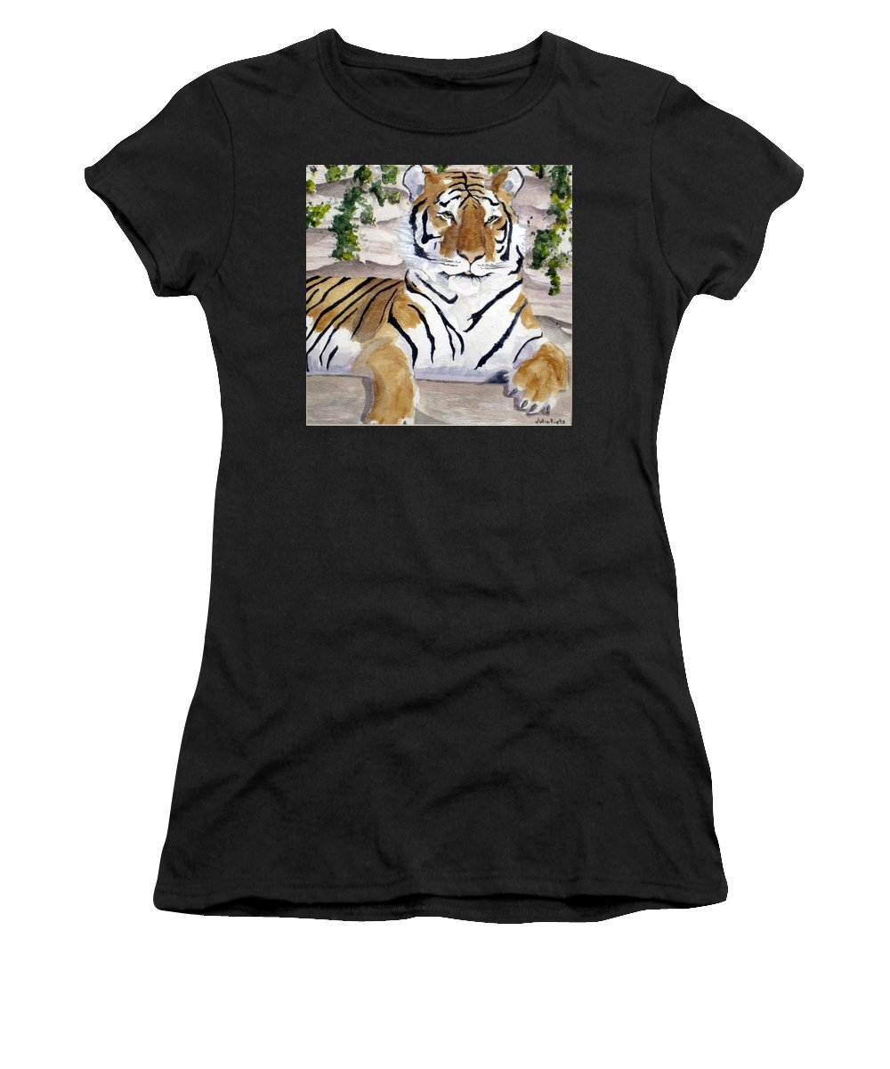 Tiger Women's T-Shirt featuring the painting Contemplating Dinner by Julia RIETZ