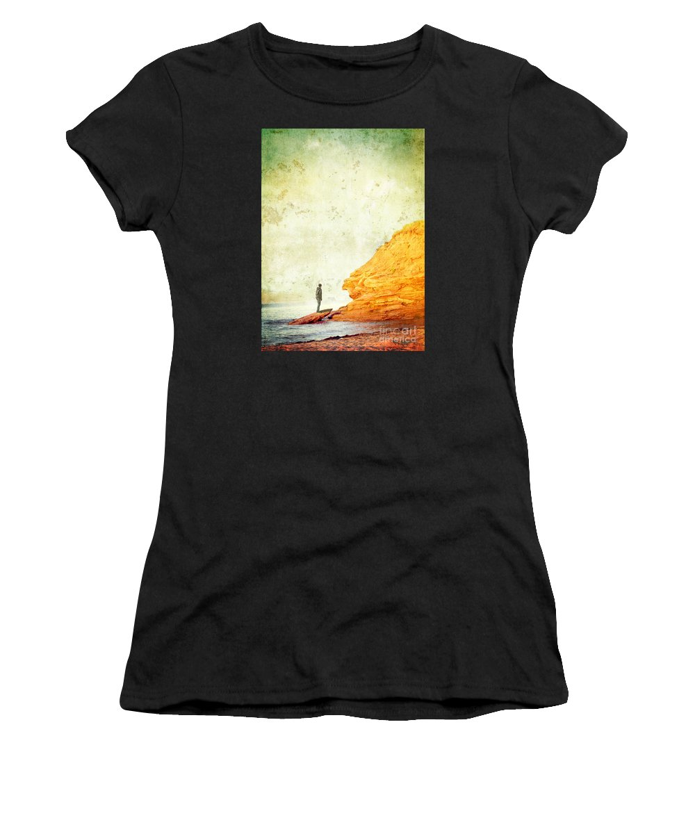 Cliff Women's T-Shirt featuring the photograph Contemplation Point by Edward Fielding