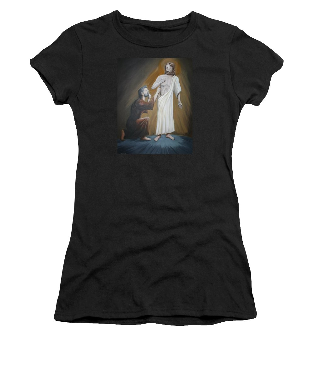 Spiritual Women's T-Shirt (Athletic Fit) featuring the painting Convincing Thomas by Stacy C Bottoms