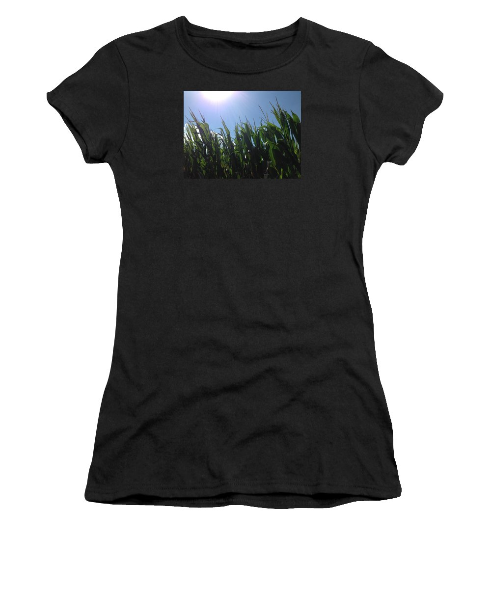 Photo Women's T-Shirt (Athletic Fit) featuring the photograph Corn Maze 02 by Edward Paul