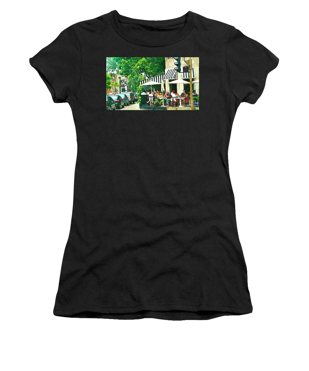 Montreal Women's T-Shirt featuring the painting Corner Taverne Terrace French Paris Bistro Painting Sidewalk Cafe Wine Cheese Bar Montreal Cspandau by Carole Spandau