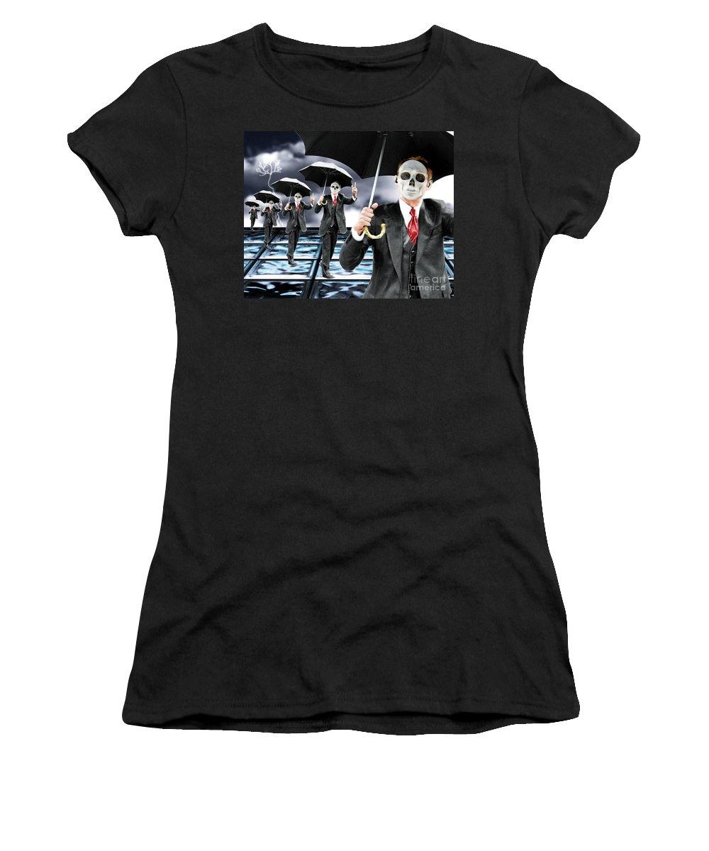 Matrix Women's T-Shirt (Athletic Fit) featuring the digital art Corporate Matrix Clones by Keith Dillon