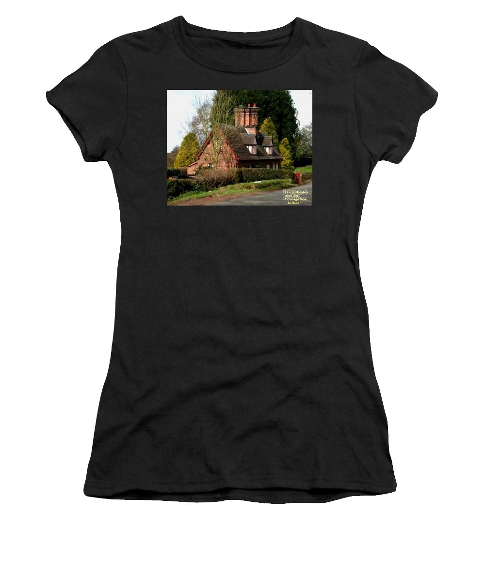 Art Women's T-Shirt featuring the painting Cottage Next To Road by Gert J Rheeders