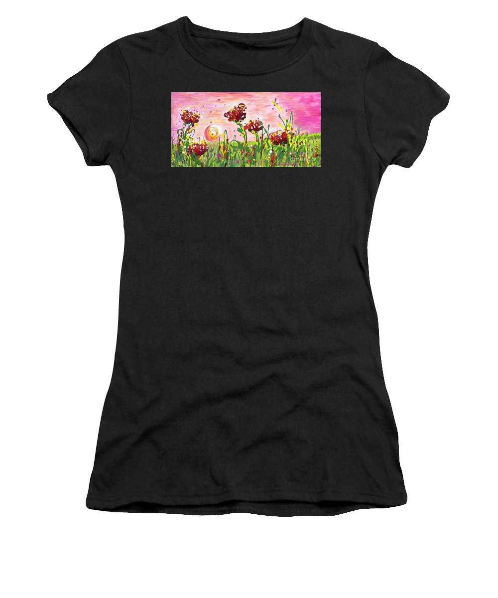 Poppies Women's T-Shirt featuring the painting Cotton Candy Flowers by Nadine Rippelmeyer