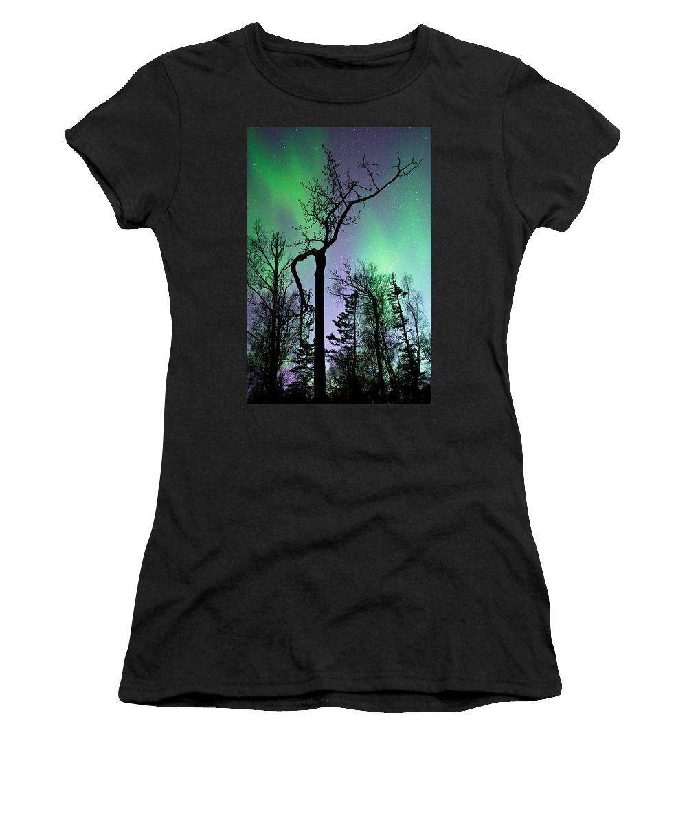 Aurora Women's T-Shirt (Athletic Fit) featuring the photograph Cottonwood Aurora by Ron Day