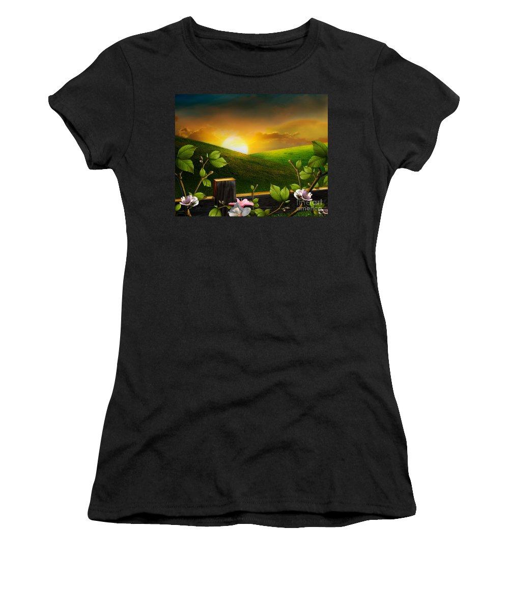 Landscape Women's T-Shirt featuring the digital art Countryside Sunset by Peter Awax