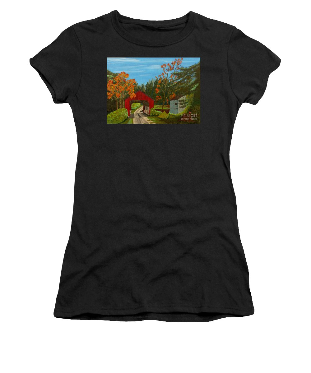 Path Women's T-Shirt featuring the painting Covered Bridge by Anthony Dunphy