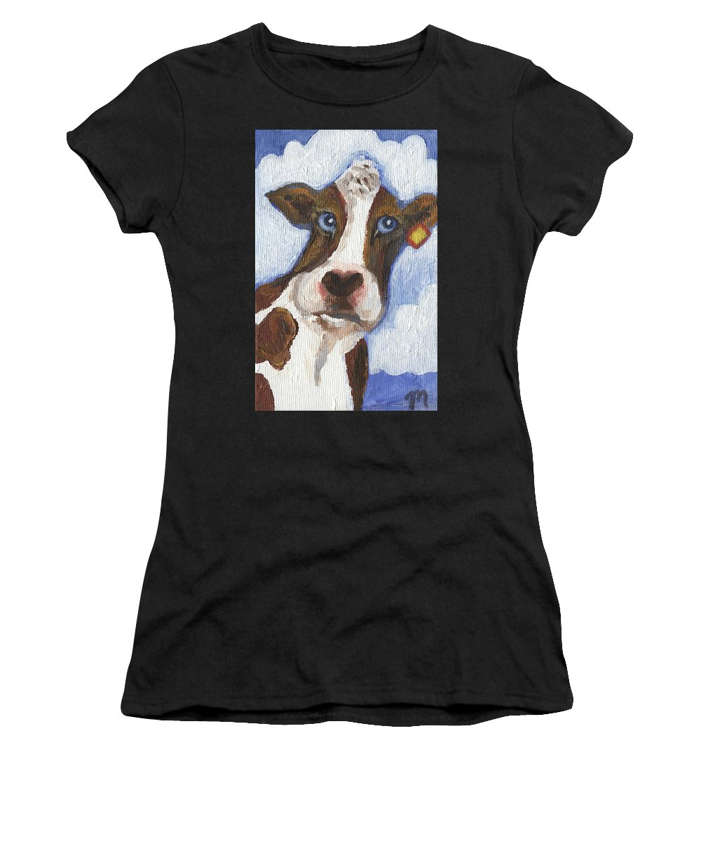 Cow Women's T-Shirt (Athletic Fit) featuring the painting Cow Fantasy Two by Linda Mears