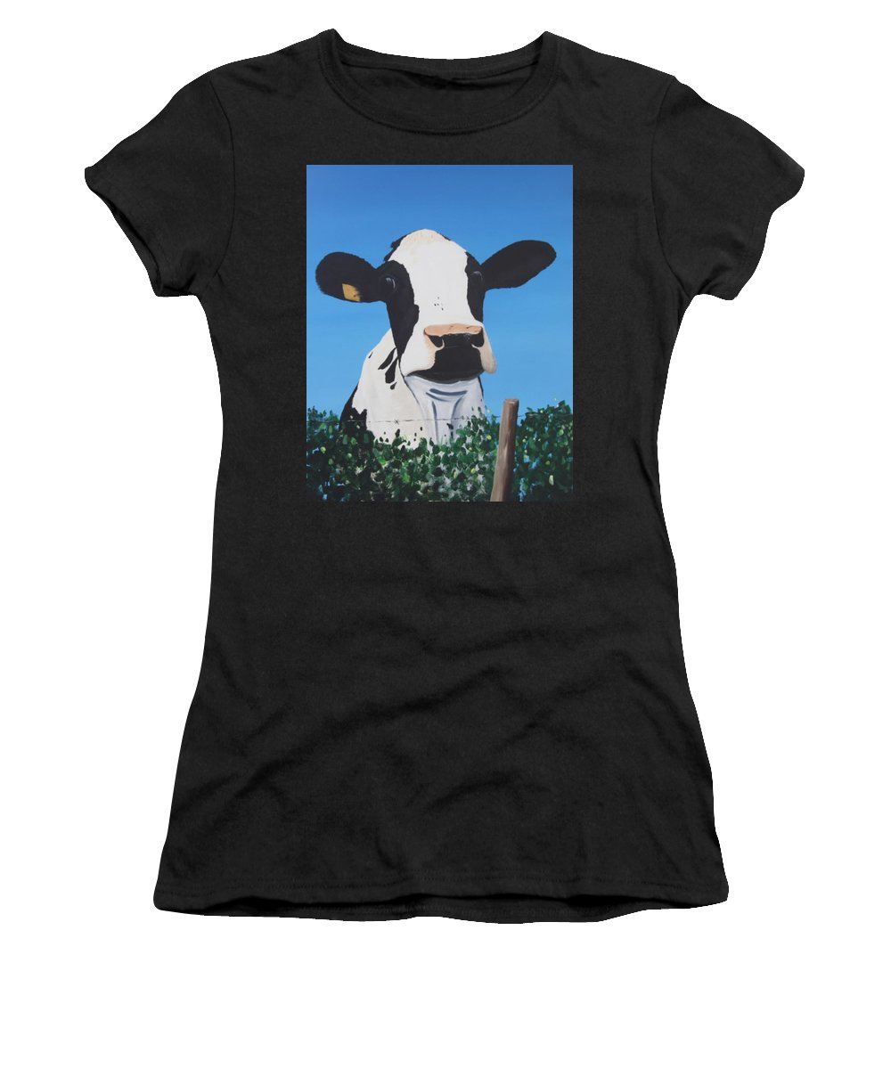 Cow Women's T-Shirt (Athletic Fit) featuring the painting Cow On A Ditch by Tony Gunning