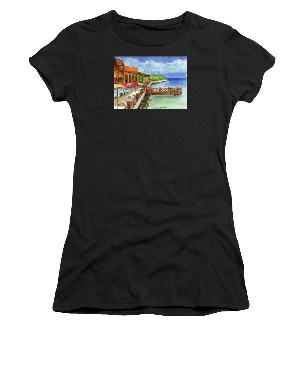 Cozumel Mexico Little Pier Women's T-Shirt (Athletic Fit) featuring the painting Cozumel Mexico Little Pier by Frank Hunter