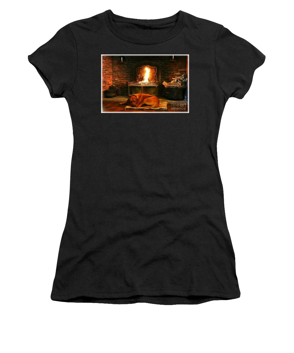 Dog Women's T-Shirt featuring the photograph Cozy By The Fire by Carol Groenen