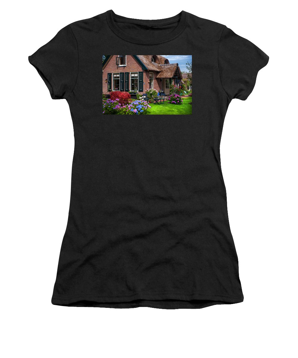 Netherlands Women's T-Shirt featuring the photograph Cozy Corner. Giethoorn. Netherlands by Jenny Rainbow