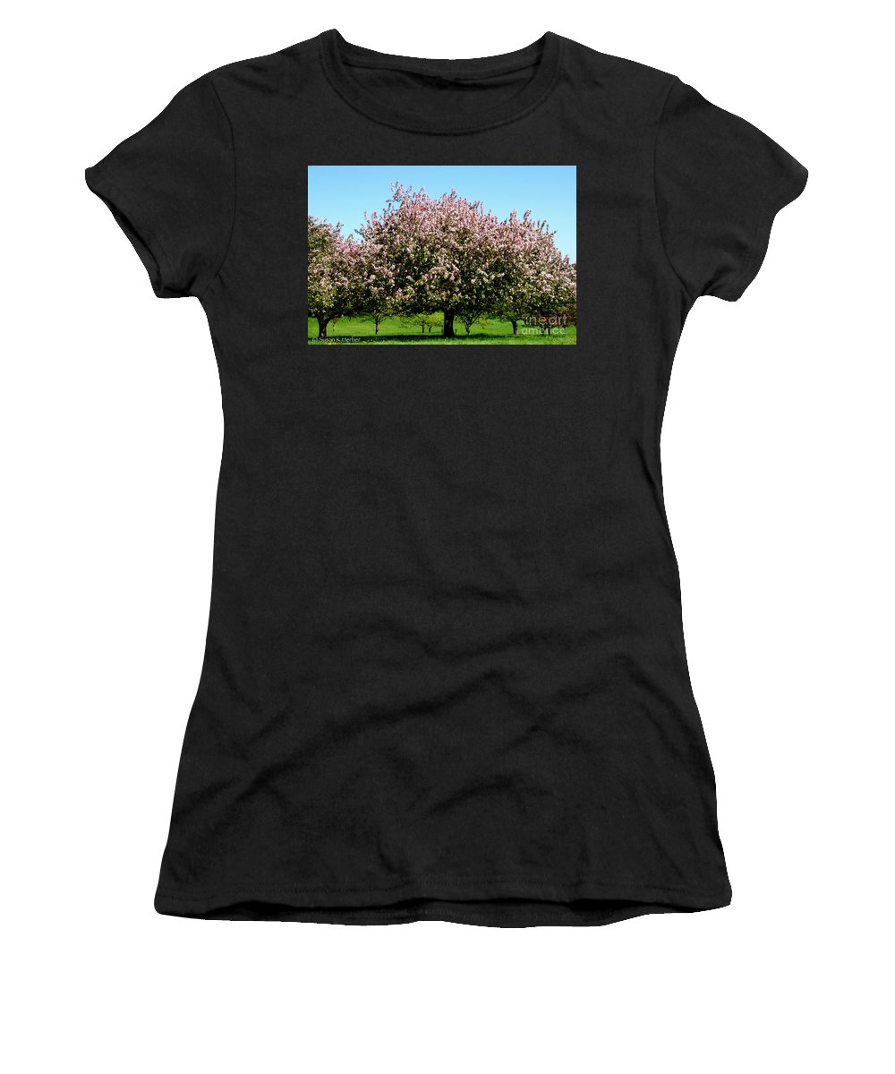 Flower Women's T-Shirt (Athletic Fit) featuring the photograph Crabapple Orchard by Susan Herber