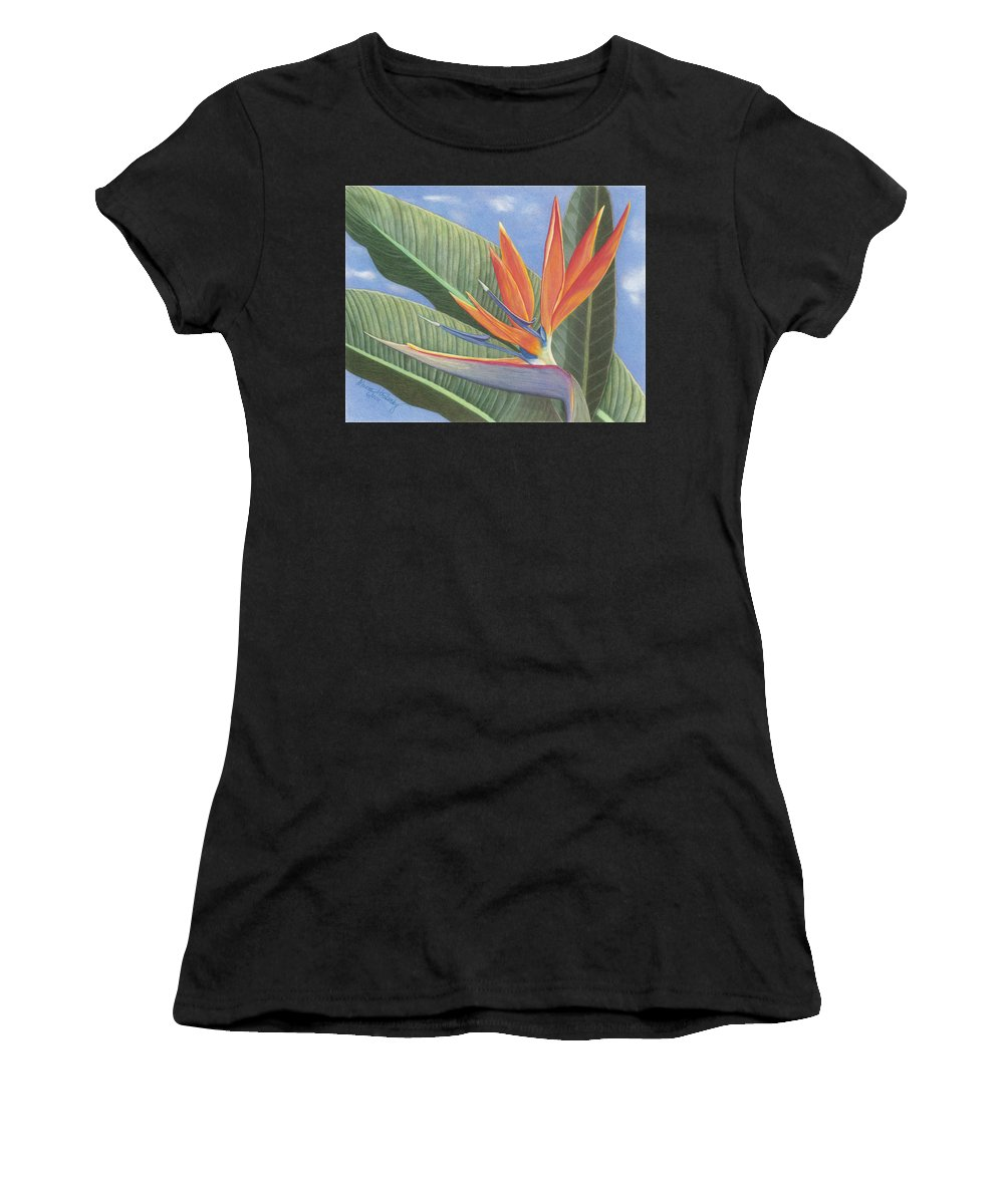 Floral Women's T-Shirt featuring the drawing Crane Flower Paradise by Diana Hrabosky