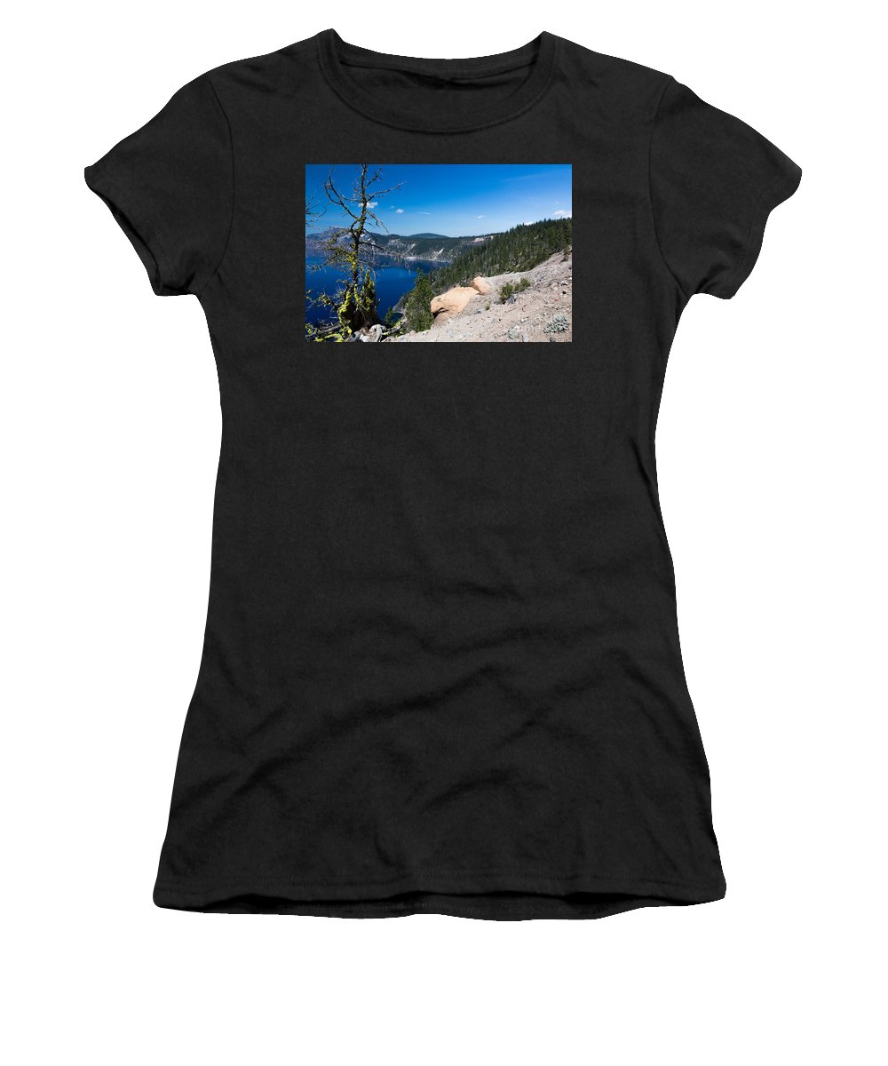 Caldera Women's T-Shirt (Athletic Fit) featuring the photograph Crater Lake And Moss Covered Tree by Dan Hartford