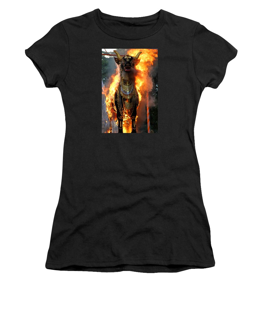 Burning Bull Women's T-Shirt featuring the photograph Balinese Burning Bull by Venetia Featherstone-Witty