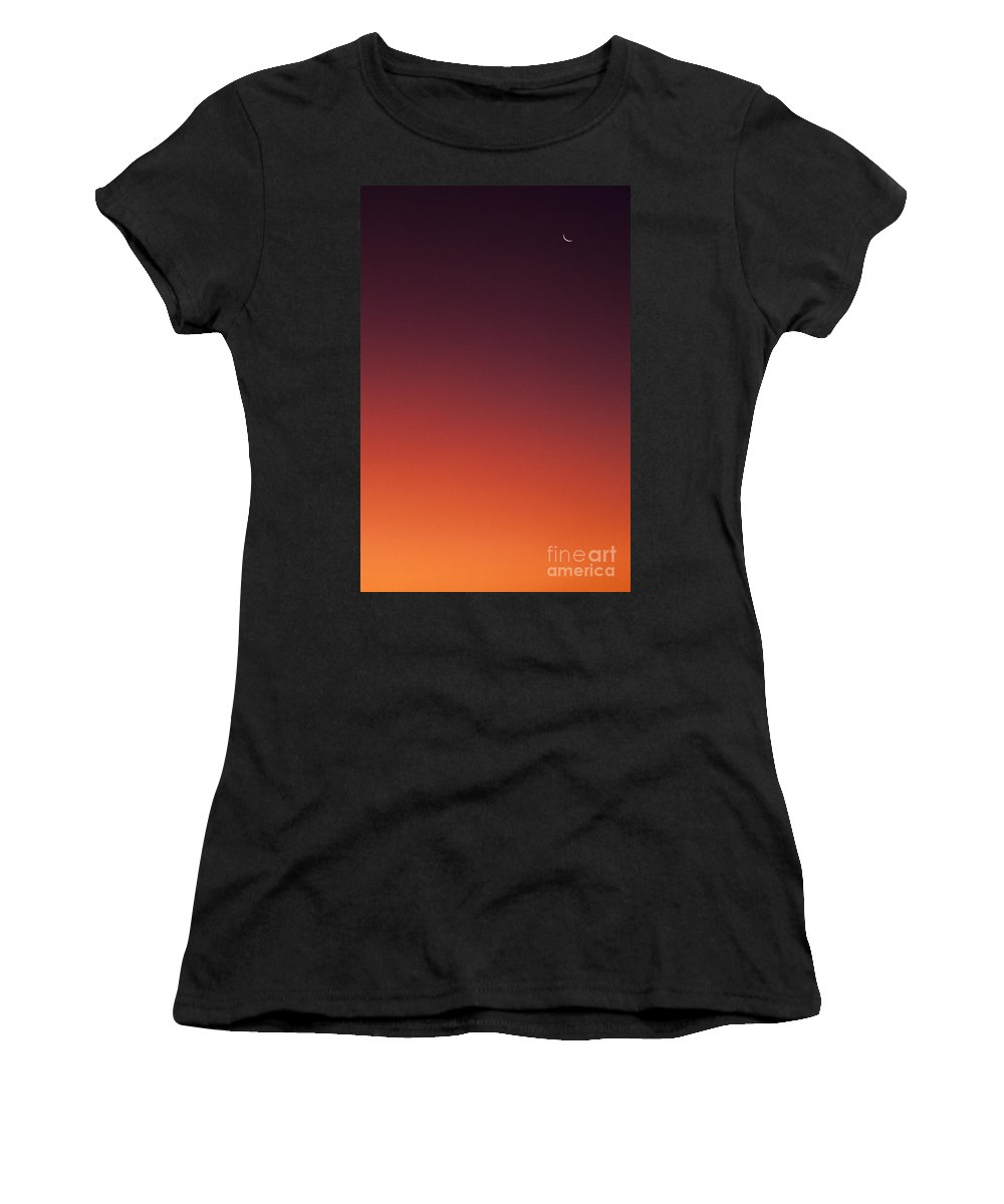 Atmosphere Women's T-Shirt featuring the photograph Crescent Moon In Sunset Sky by Jim Corwin