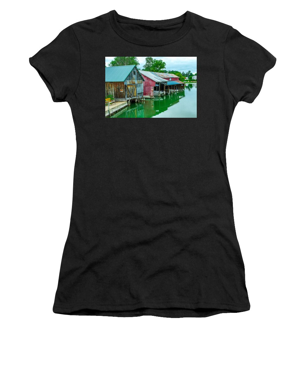Crooked River Women's T-Shirt (Athletic Fit) featuring the photograph Crooked River Marina by Bill Gallagher