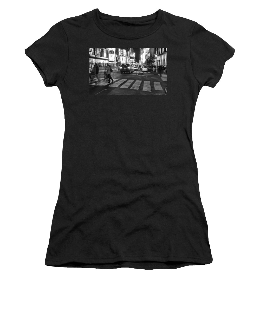 Crosswalk Women's T-Shirt (Athletic Fit) featuring the photograph Crosswalk by Dan Sproul