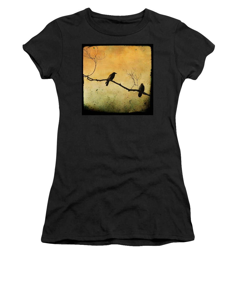Two Crows Women's T-Shirt (Athletic Fit) featuring the photograph Crowded Branch by Gothicrow Images