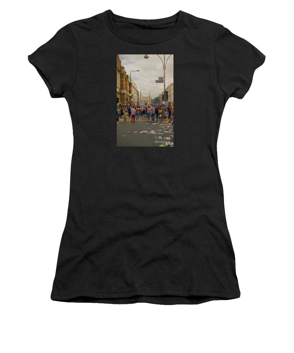 Carnival Women's T-Shirt featuring the photograph Crowds At Carnival Notting Hill Celebrations by Richard Morris