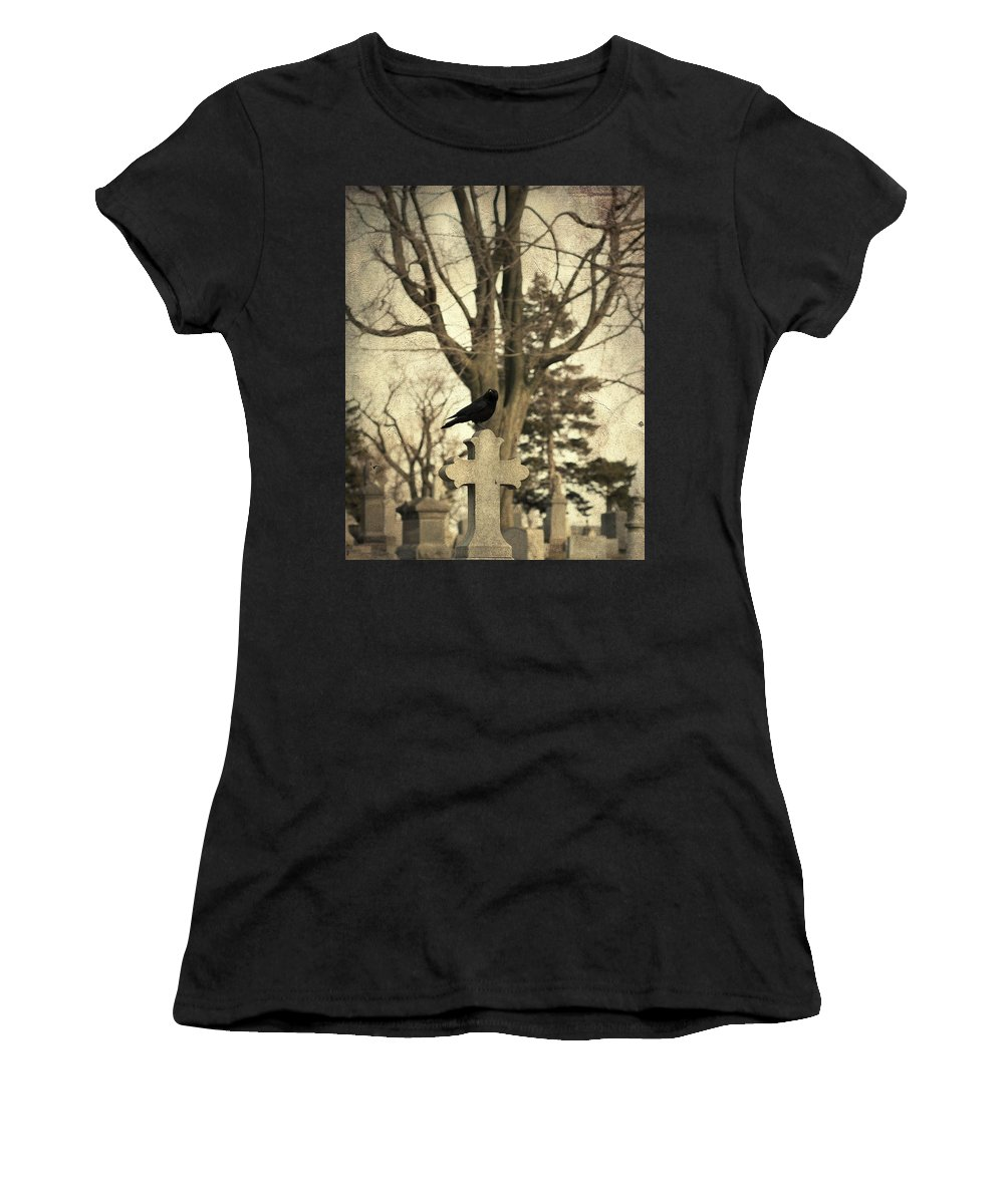 Old Graveyard Crow Women's T-Shirt (Athletic Fit) featuring the photograph Crow's Cross by Gothicrow Images