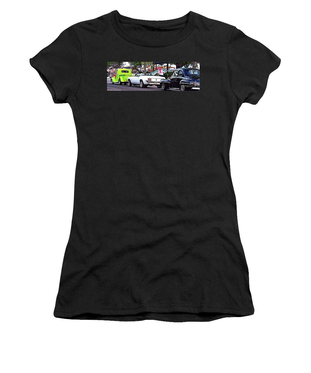 Classic Car Event Women's T-Shirt featuring the photograph Cruise Line by Bobbee Rickard
