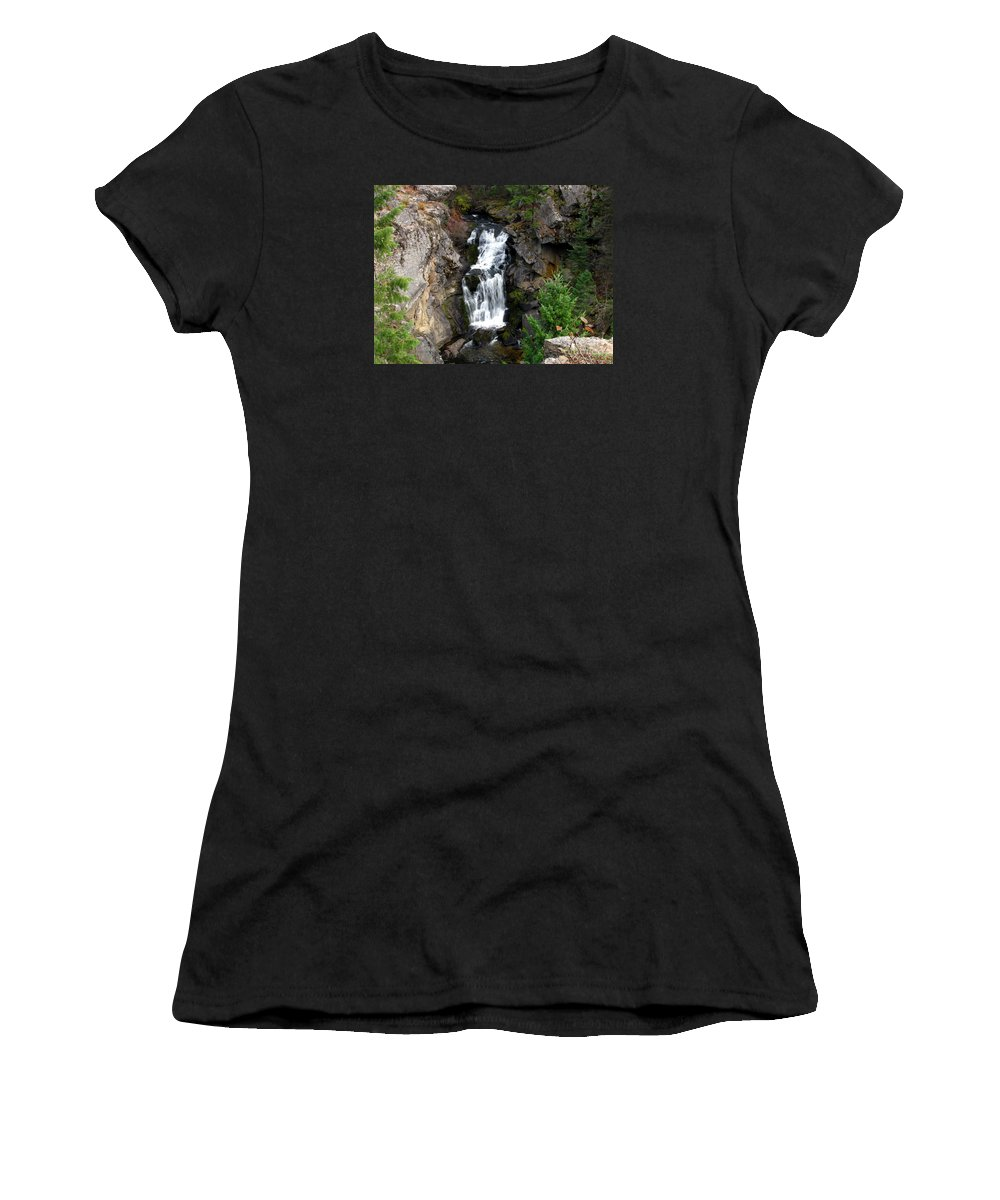 Art For The Wall...patzer Photography Women's T-Shirt (Athletic Fit) featuring the photograph Crystal Falls by Greg Patzer