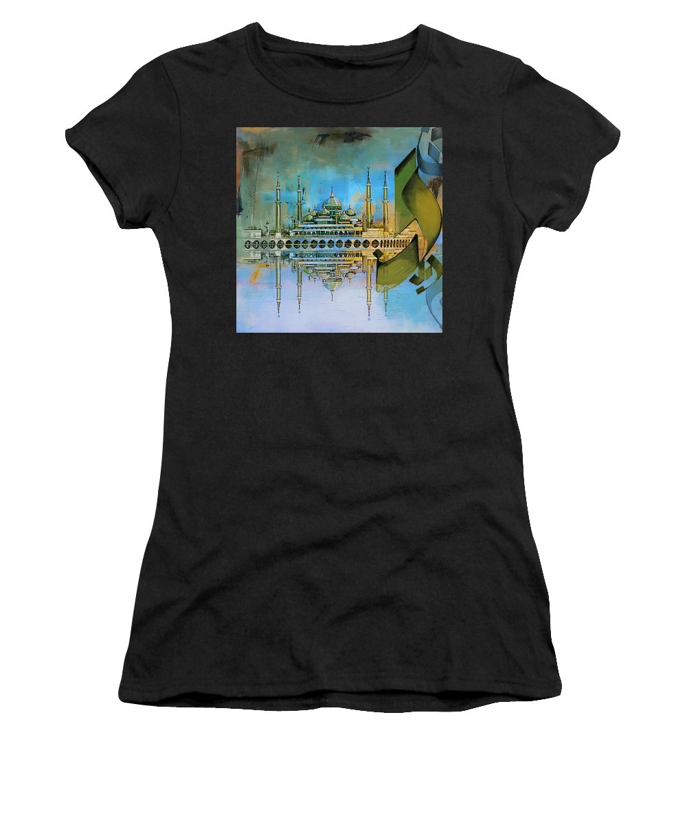 Mosques Women's T-Shirt (Athletic Fit) featuring the painting Crystal Mosque by Corporate Art Task Force