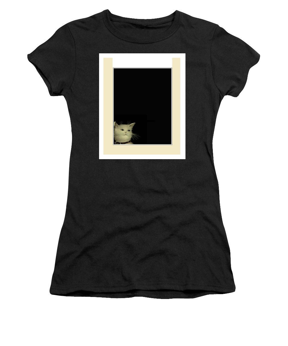 Diane Strain Women's T-Shirt featuring the painting Curious Cat by Diane Strain