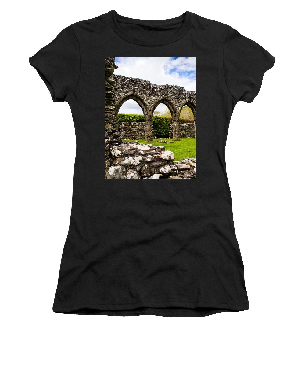 Arches Women's T-Shirt (Athletic Fit) featuring the photograph Cymer Abbey Snowdonia by Mark Llewellyn