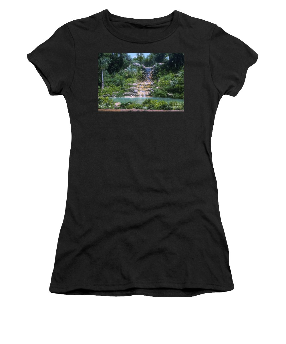 Cypress Gardens Winter Haven Florida Waterfall Waterfalls Pond Ponds Water Tree Trees Flower Flowers Plant Plants Landscape Landscapes Women's T-Shirt featuring the photograph Cypress Garden Waterfalls by Bob Phillips
