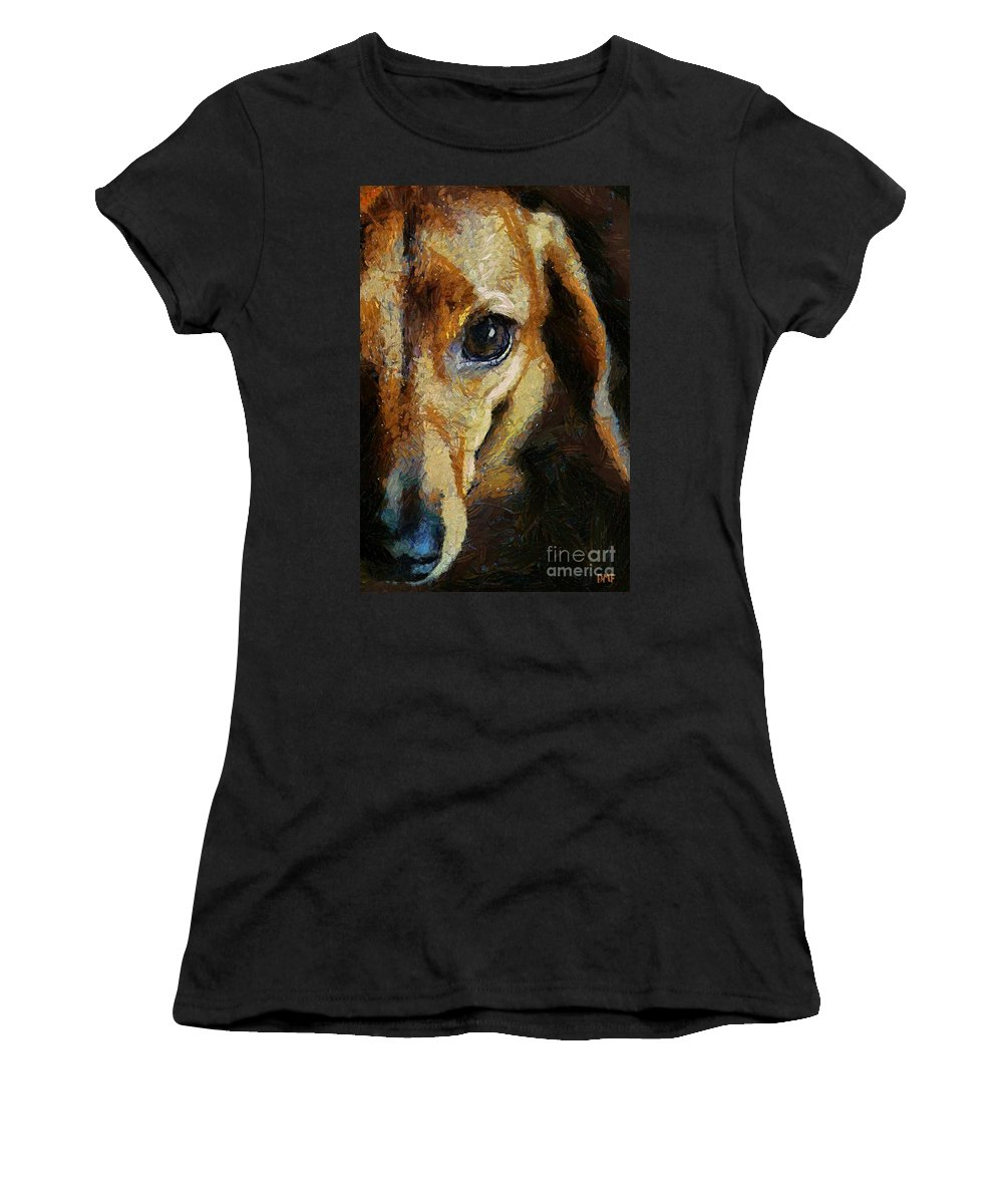 Animal Women's T-Shirt (Athletic Fit) featuring the painting Dachshund Chocolate by Dragica Micki Fortuna