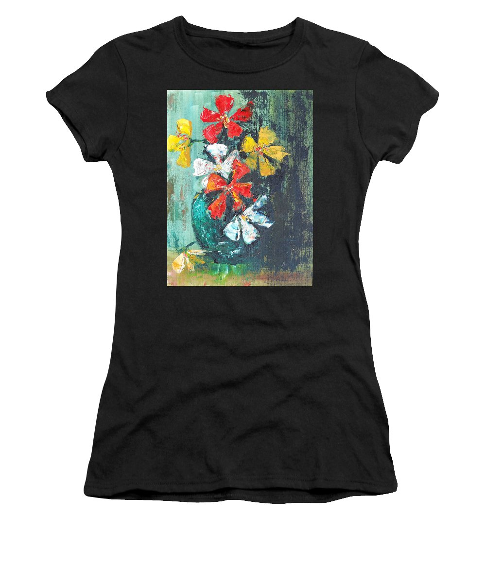 Flowers Women's T-Shirt featuring the painting Daisies In A Green Vase by Olga Kaczmar