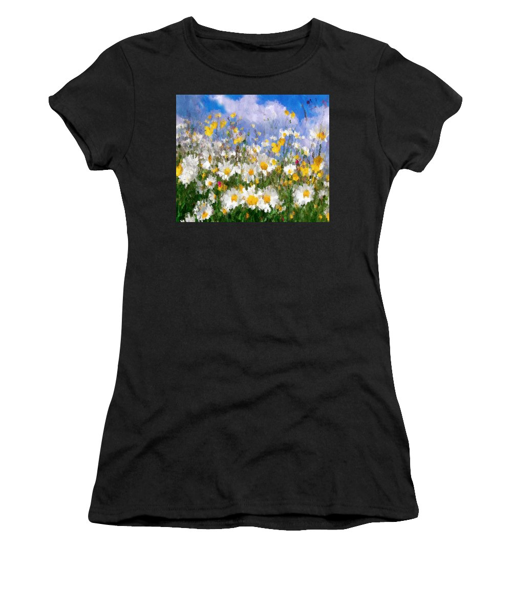Impressionism Women's T-Shirt (Athletic Fit) featuring the painting Daisies On A Hill - Impressionism by Georgiana Romanovna