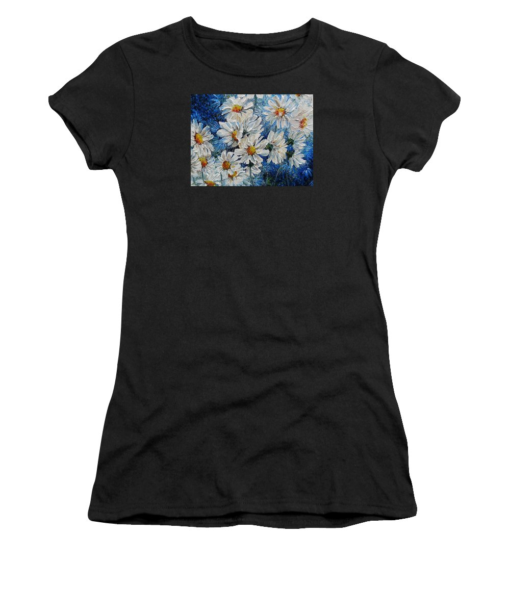 Daisies Women's T-Shirt (Athletic Fit) featuring the painting Daisy Cluster by Karin Dawn Kelshall- Best