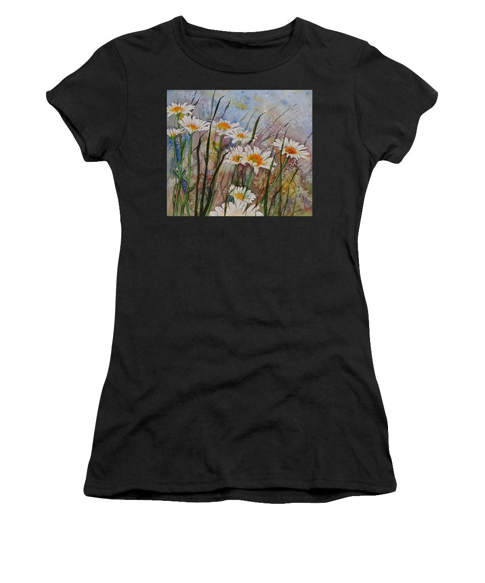 Daisies Women's T-Shirt (Athletic Fit) featuring the painting Daisy Dreams by Wendy Provins