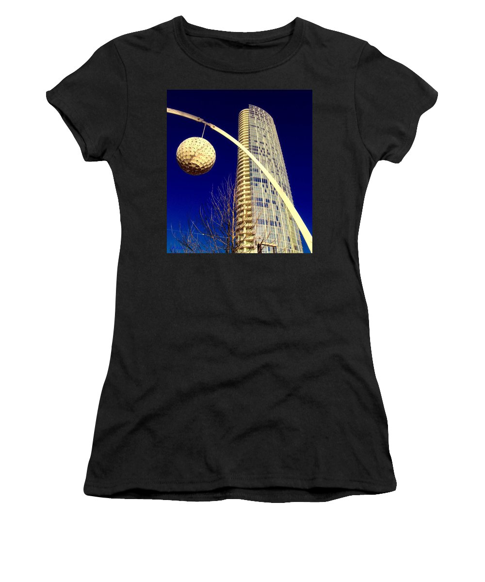 Dallas Women's T-Shirt (Athletic Fit) featuring the digital art Dallas Museum Tower by Alec Drake