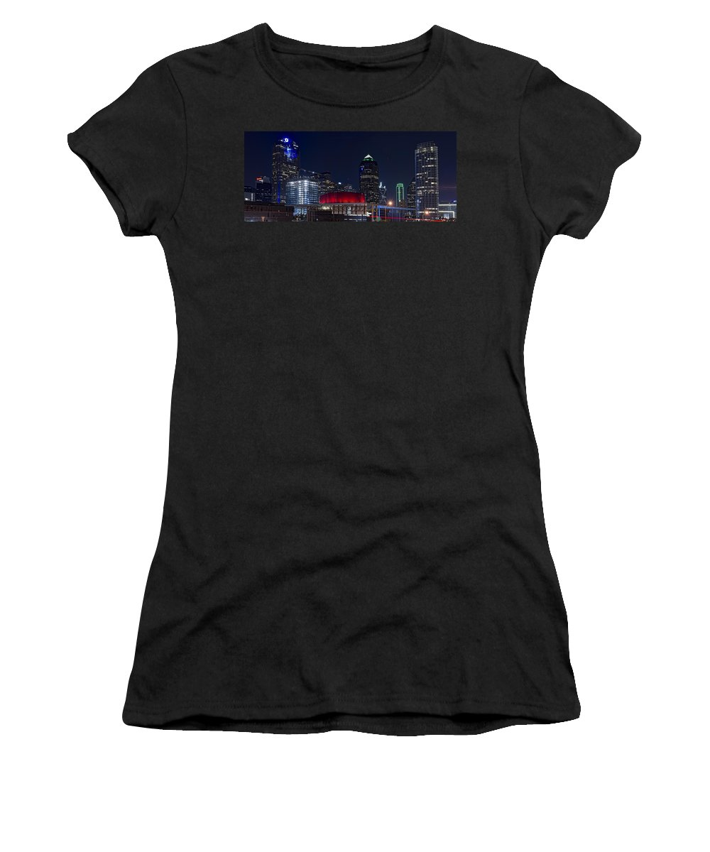 Dallas Women's T-Shirt (Athletic Fit) featuring the photograph Dallas Skyline Arts District At Night by Jonathan Davison