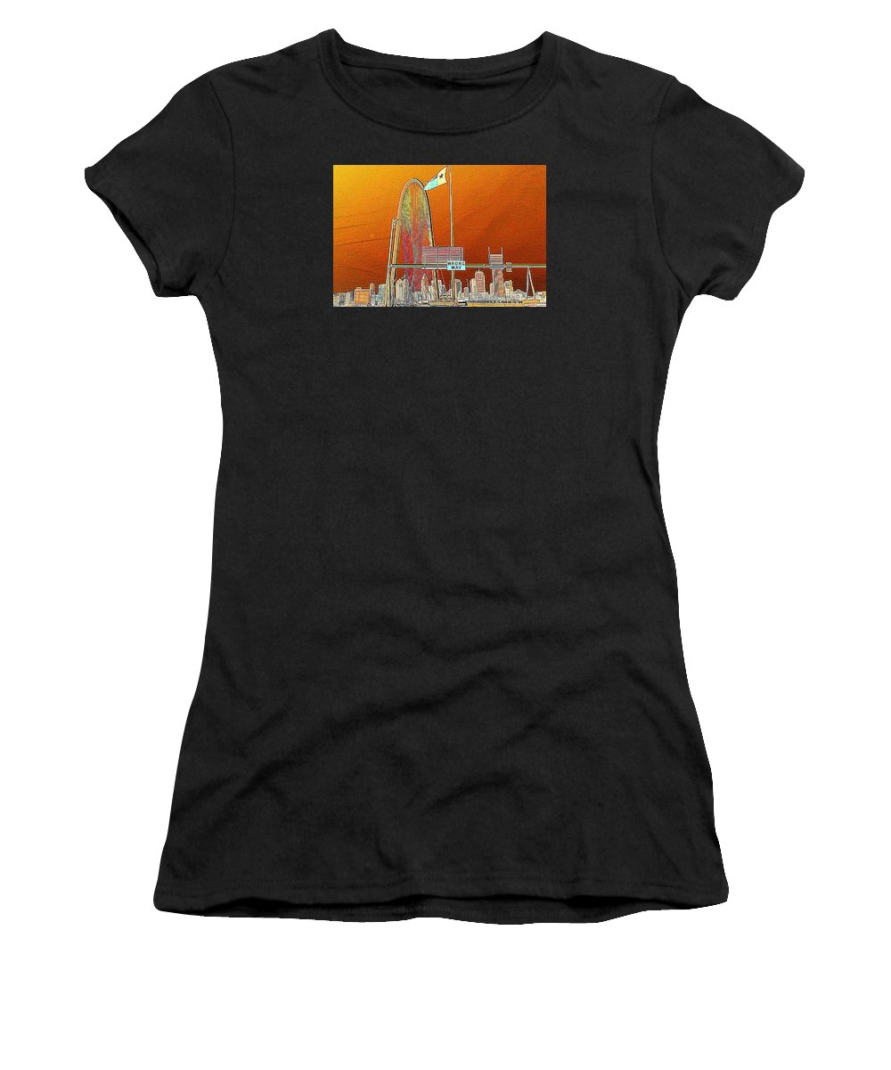 Cityscape Women's T-Shirt featuring the photograph Mhh Bridge Abstract by Diana Mary Sharpton