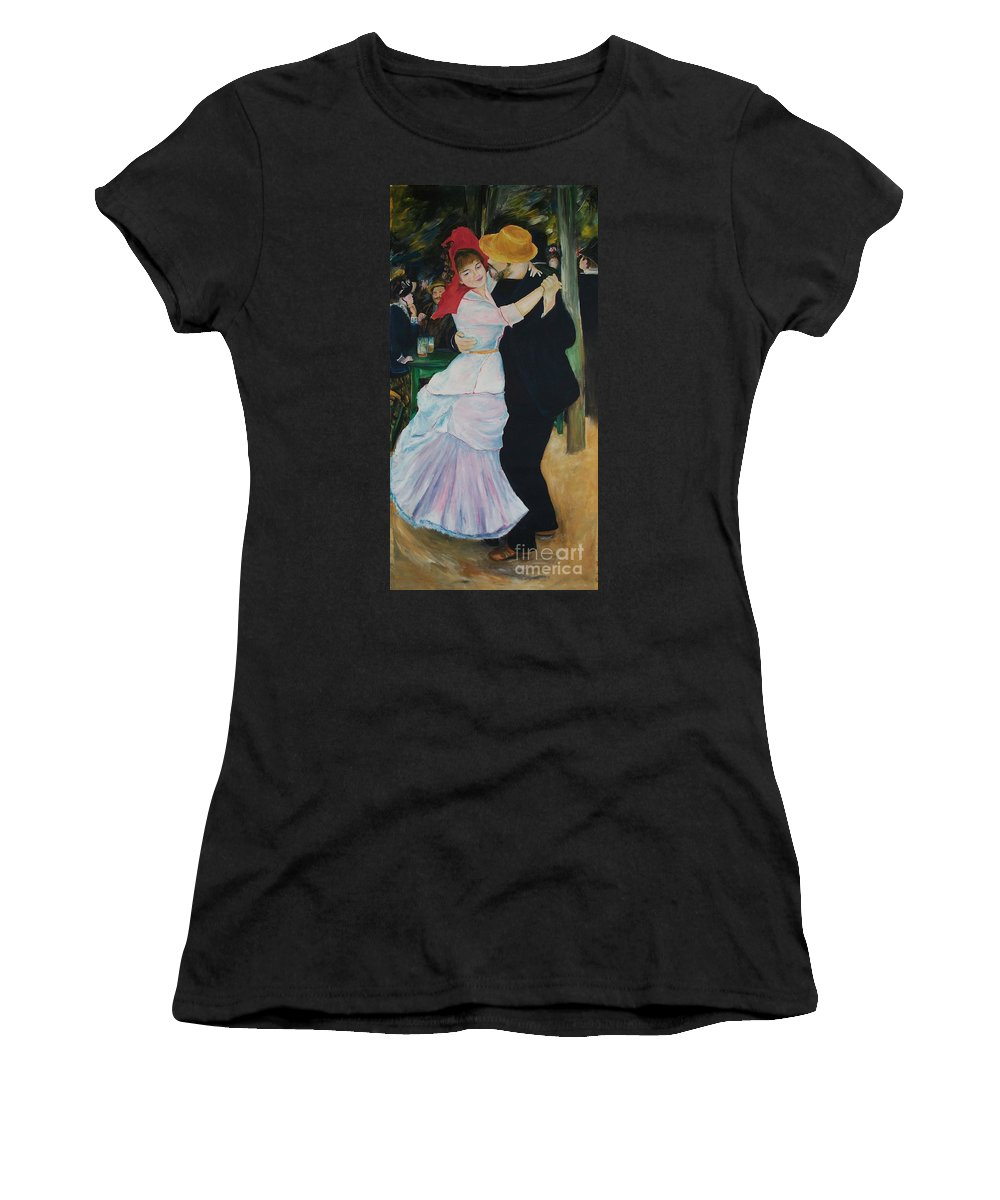 Impressionism Women's T-Shirt (Athletic Fit) featuring the painting Dance At Bougival Renoir by Eric Schiabor