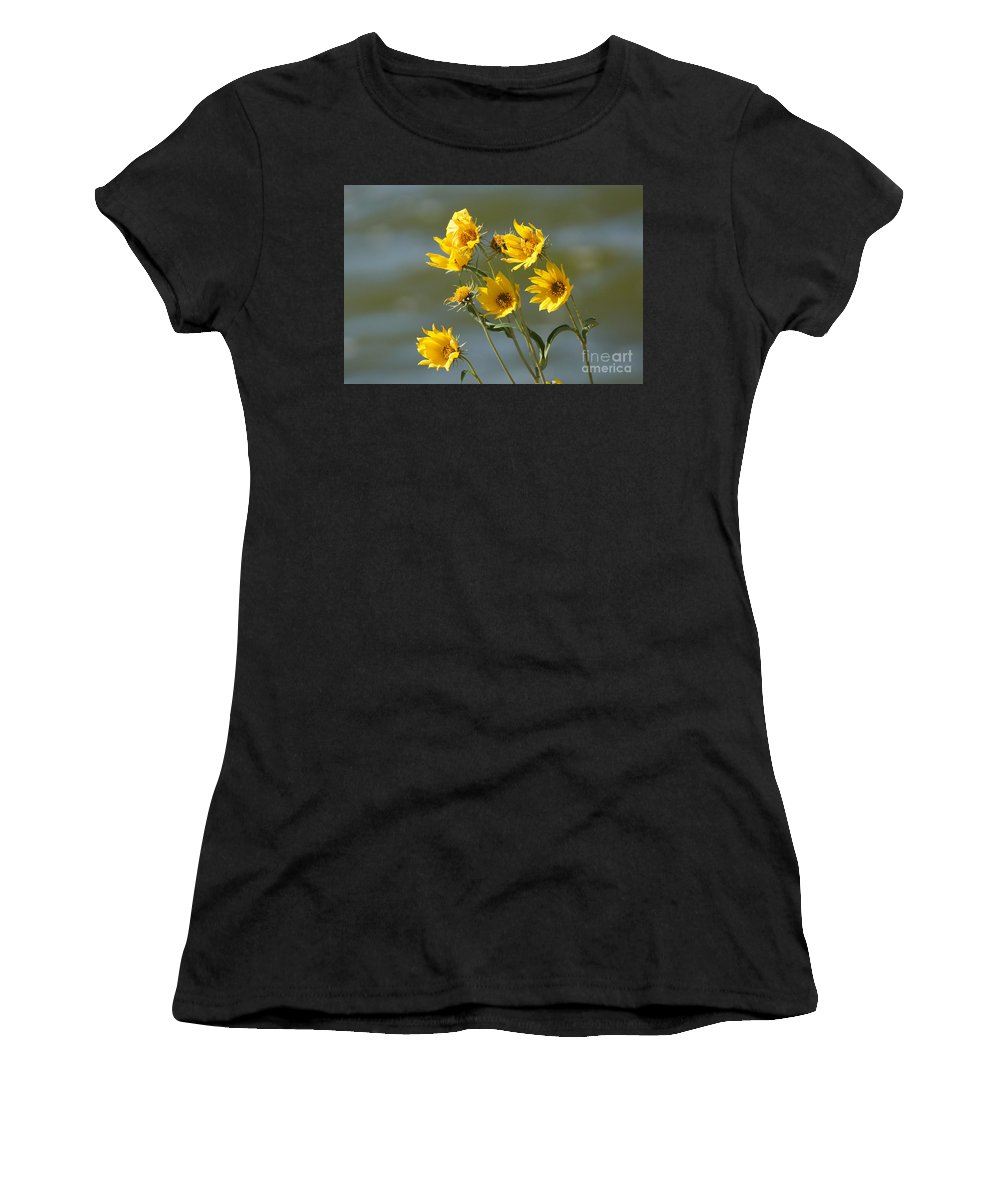 Yellow Women's T-Shirt (Athletic Fit) featuring the photograph Dancing In The Wind by Lori Tordsen