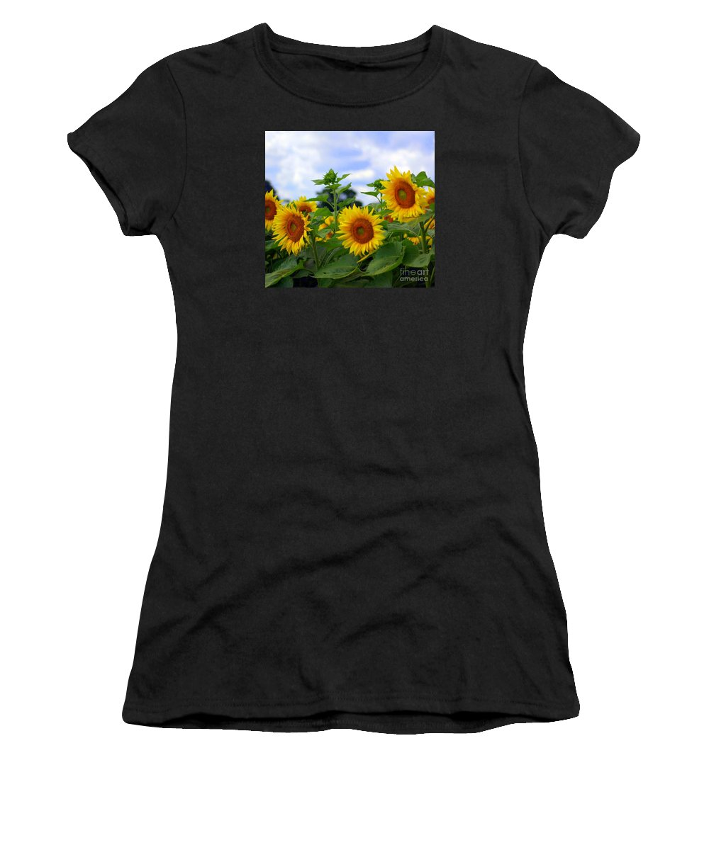 Sunflower Women's T-Shirt (Athletic Fit) featuring the photograph Dancing Sunflowers by Kathleen Struckle
