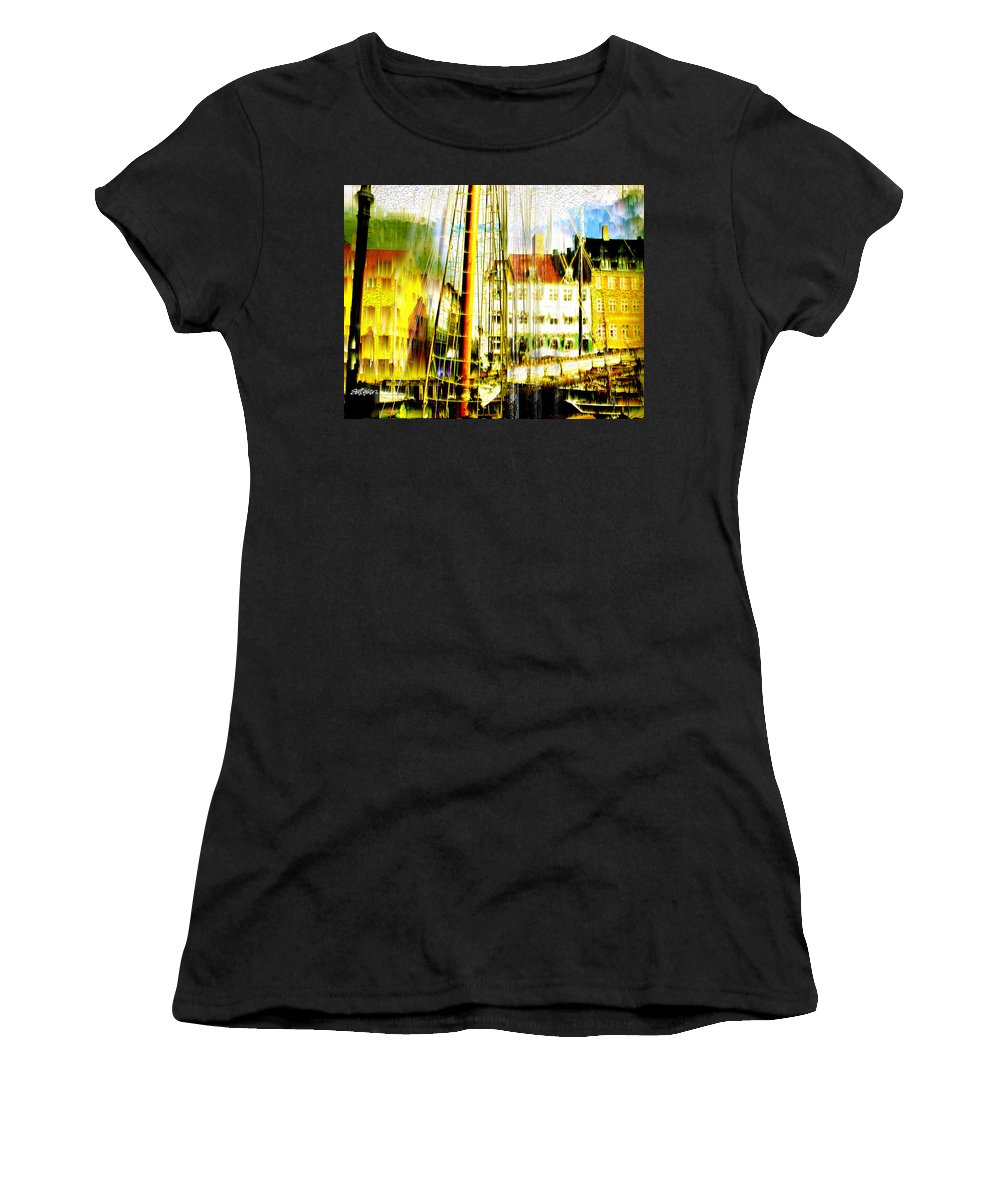 Cityscape Women's T-Shirt (Athletic Fit) featuring the photograph Danish Harbor by Seth Weaver
