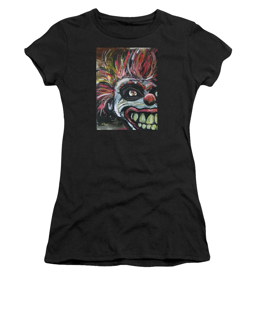 Clown Women's T-Shirt featuring the painting Dark Clown by Gerald Rader
