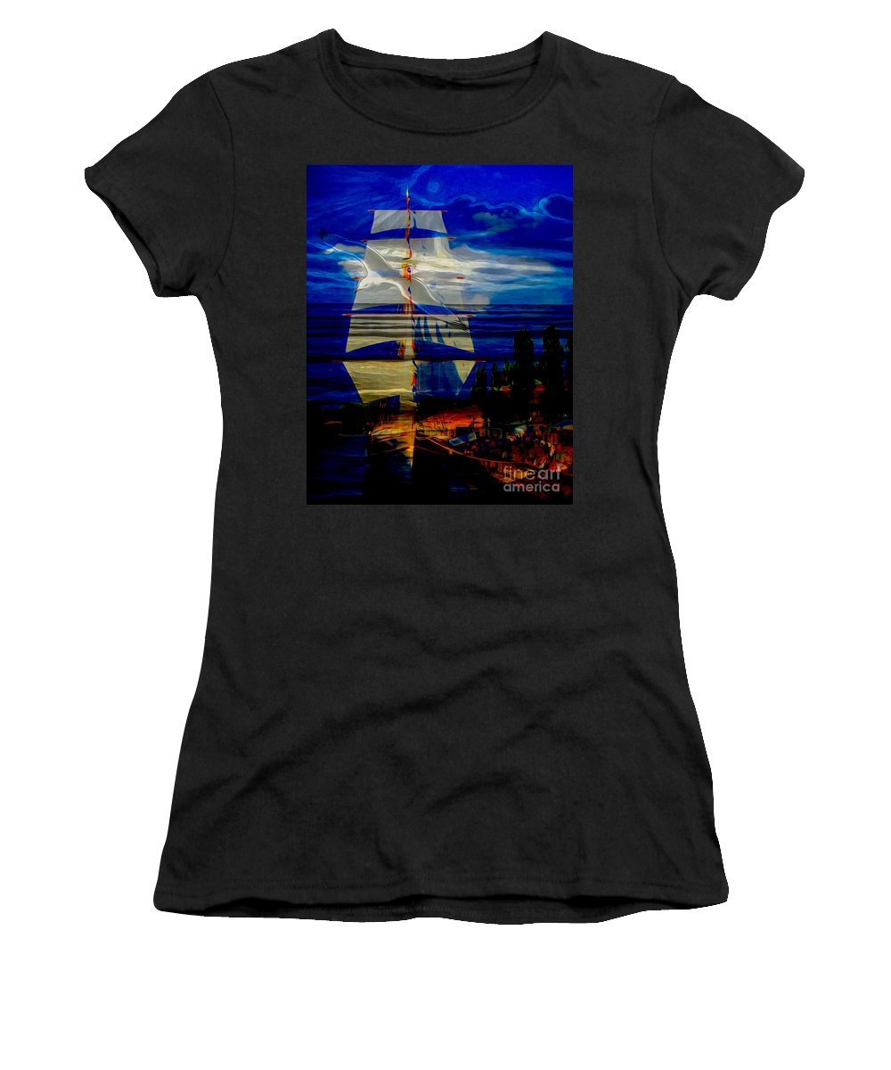 Nature Women's T-Shirt featuring the digital art Dark Moonlight With Sails And Seagull by Algirdas Lukas