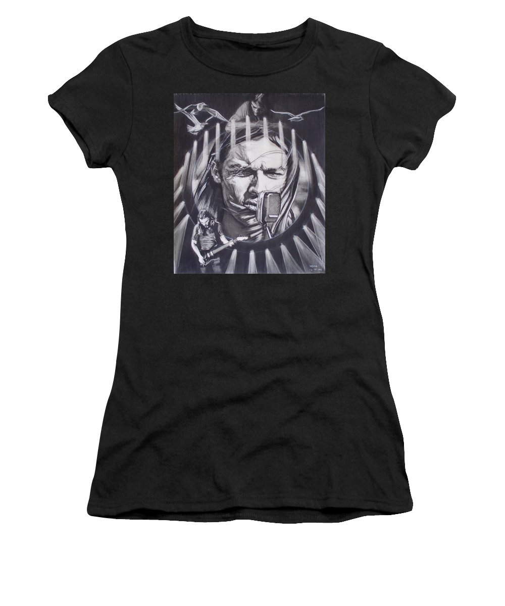 Charcoal On Paper Women's T-Shirt featuring the drawing David Gilmour Of Pink Floyd - Echoes by Sean Connolly
