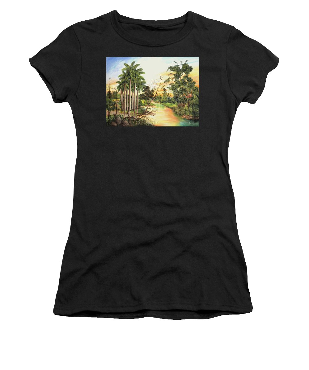 Wood Women's T-Shirt (Athletic Fit) featuring the painting Dawn by Dominica Alcantara