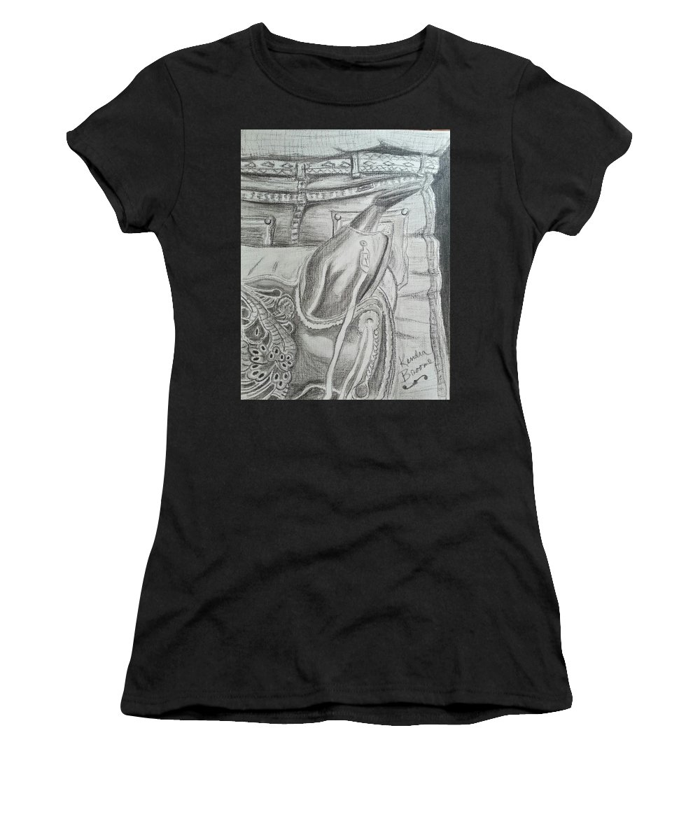 Saddle Women's T-Shirt featuring the drawing Days Done by Kendra DeBerry