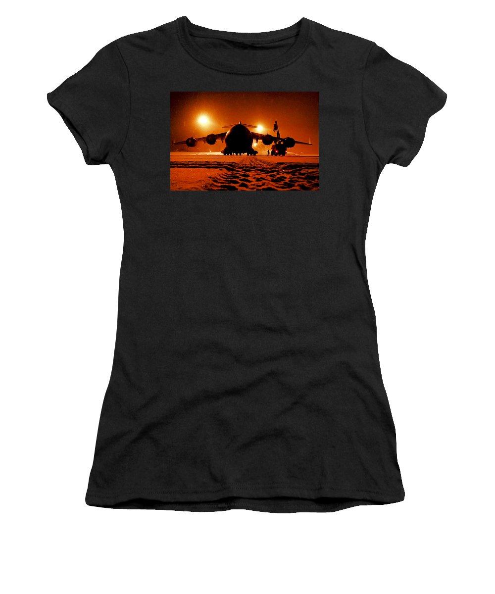 Elmendorf-richardson Women's T-Shirt (Athletic Fit) featuring the photograph De-icing by Mountain Dreams